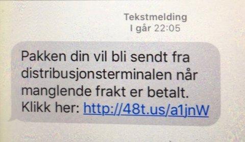 SMS'er av denne typen sendes ut i et forsøk på å lure deg for penger.