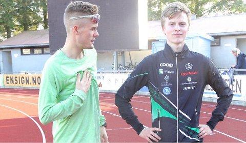 NORGESMEISTER: Narve Gilje Nordås viste god form under helgas NM i Bergen, og sprang inn til NM-gull på 5000 meter. Her avbilda saman med Filip Ingebrigtsen før NM på heimebane i august 2017.
