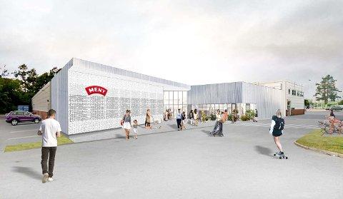 UTVIDELSE: Tilbygget vil komme på dagens parkeringsplass i sørøstre hjørne av bygget.