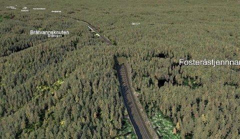 TUNNEL: Nye Veier vil nå en 150 meter lant tunnel ved Bråtetjenn i Sannidal, framfor en høy fjellskjæring. (Illustrasjon: Nye Veier)