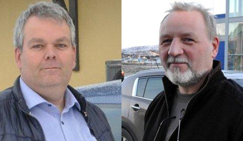 Kjørelærerne Øyvind Trondsen og Gudmund Zakariassen er glade for at det fortsatt skal være mulig å ha oppkjøring til førerkort på Leknes.