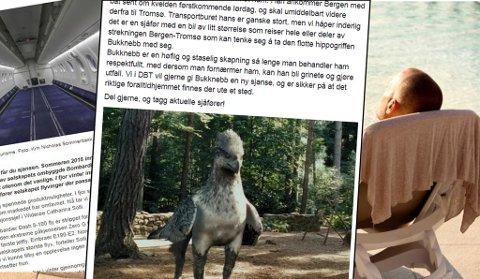FLERE APRILSPØKER: Dyrebeskyttelsen i Tromsø trenger hjelp til å flytte en hippogriff, Ving vil ta fra folk Wifi, mens Widerøe tilbyr nå vektløs flygning.