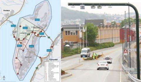 BOM: Illustrasjonen til venstre viser et oversiktsbilde over de 15 bomstasjonene som planlegges i Tromsø kommune.