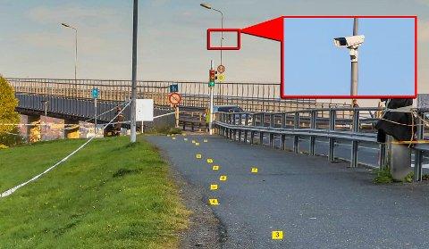 KNIVSTIKKING: Dette kameraet er et av to som registrerer trafikken på Tromsøbrua.