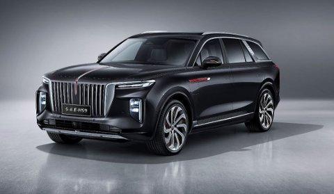 ROLLS ROYCE-INSPIRERT: Den store luksus-elbilen Hongqi kommer ut for salg i Tromsø, med ambisjoner om å konkurrere med elbil-SUVene til Audi og Tesla.