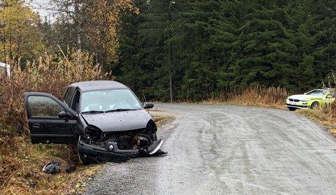 AV VEIEN: En enslig bil kjørte av vegen i Klinkelinna like før klokka 13 søndag ettermiddag.