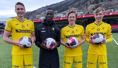 FIRE FULLTREFFERE. Marius Alm, Mame Mor Ndiaye, Hermann Kleppa og Markus Karlsbakk sørget for 4-3-seier i Sogndal.
