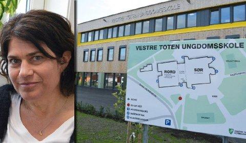 KJIPT: Hanne Marken, rektor på Vestre Toten ungdomsskole, opplyser om at en ansatt har fått koronasmitte. Hun synes det er kjipt.