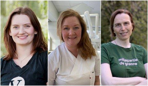 PLASSEN GLAPP: Fra venstre Stine Hansen (V), Anne Lise Fredlund (SV) og Karina Ødegård (MDG)
