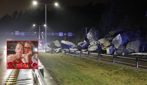 LYKKELIGE: Astrid Bø og sønnen Bjørn Magnus var takknemlige etter at sjokket hadde lagt seg, og at de passerte området med steinraset på E18 bare kort tid før et raste ut.