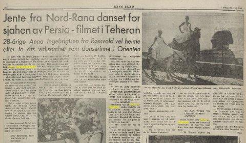 Rana Blad 31. mai 1958 - Anna Ingebrigtsen forteller om sine opplevelser som danser.