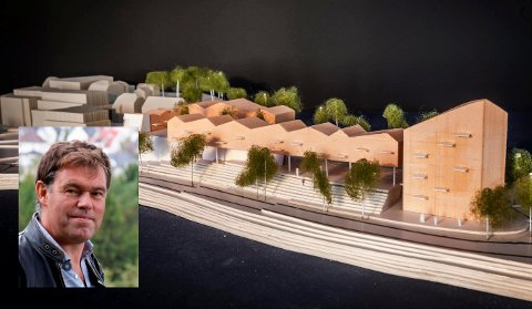 VINNER: Her er vinnerutkastet for Frederik Skarsteins planlaget utbygging av Coop- eiendommen på Jevnaker. Det presiseres at skissene kan bli omarbeidet.