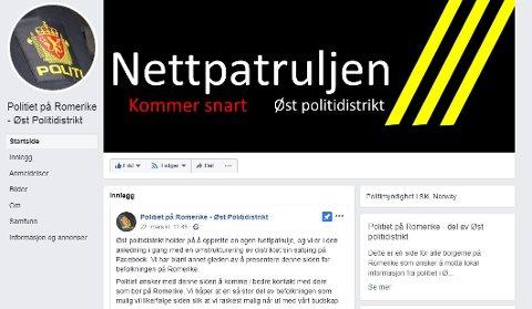 """SLIK SER DEN UT: Facebooksiden for politiet på Romerike er ikke operativ foreløpig, men innbyggerne ønskes velkomne og oppfordres til å """"spre ordet"""". Skjermdump: facebook.com"""