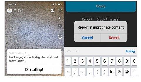 Det er egne knapper for å blokkere brukere og rapportere meldinger. Men hvordan dette blir fulgt opp i praksis er vanskelig å si, skriver barnevakten.no Foto: Skjermdump fra Barnevakten.no