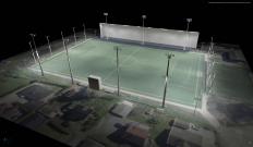 Slik er den opprinnelige planen: De 21 lysmastene blir fordelt slik på Strømmen stadion. På tegningen kan man også de armaturene som festes ved tribunetaket. Skisse: Light Bureau