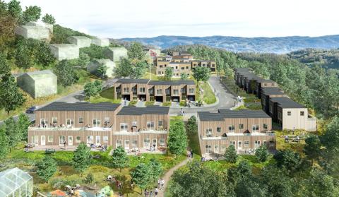 OMTRENT: Dette er en skisse som viser hvordan bebyggelsen kan bli i det aktuelle området.