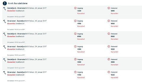 Kansellerte avganger: På sine hjemmesider opplyser Color Line at to daglige avganger er kansellert denne helgen. Bohus er tilbake i drift fra og med tirsdag.