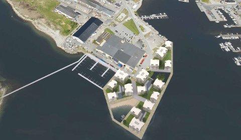 Scana (50,1 prosent) og Strand eiendomsutvikling (49,9 prosent) som sammen har dannet selskapet Fjordbris, som vil innebære 290 nye boliger utenfor Skallstøperiet på Jørpeland. (Illustrasjon: Alliance Arkitekter)