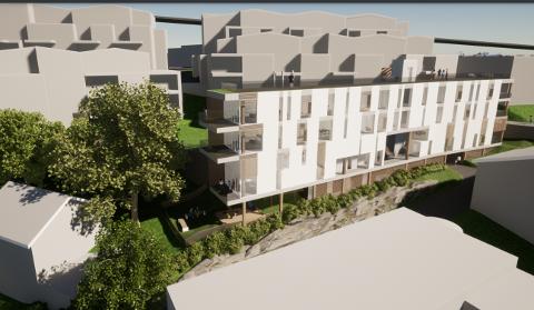 NEI: Kommunen og politikerne sier nei til dette leilighetsbygget. I bakkant er Solsiden terrasse og Brotorvet.