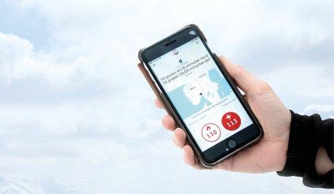 Viktig APP: Du kan ringe direkte til 113 og 110 via appen. Da blir posisjonen din sendt automatisk til nødsentralen. Foto: Norsk Luftambulanse/ANB
