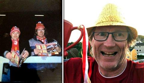 Johnny «Puma» Rotvær (venstre) og Roger Hojem x 2. Bildet til venstre er fra første gang duoen besøkte The Kop for 30 år siden. Til høyre er Hojem med covid-sveis og seiersgliset etter at Liverpool sikret sitt første ligatrofé på 30 år.