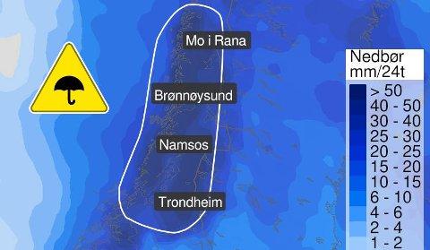 MER NEDBØR PÅ GANG: Meteorologisk institutt har sendt ut dette varselet, som gjelder fra tirsdag ettermiddag til onsdag ettermiddag.