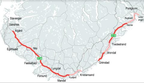 Dersom Nye Veier får gjennomslag for sine planer, blir det 120 km/t på strekningene som er markert med rødt. På de øvrige blir det hovedsakelig 110 km/t.