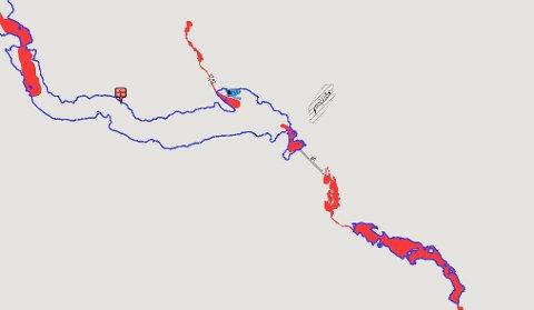 Røde områder: Røde områder er utrygg is. Her ser man tydelig at det innerst ved Fagernes og i elvedraget ved Leira er utrygg far-is.