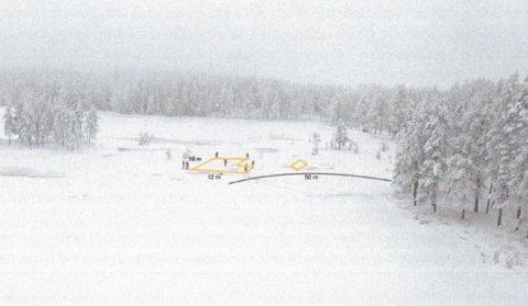 MIDLERTIDIGBYGG:Skisse av planlagt filmlokasjon ved Langvannmidt i Nordmarka.