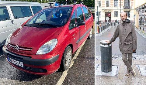 TOTALSKADD: Bildet av bilen er tatt etter at den ble fraktet bort fra uhellsstedet. Torgeir Larsen opplevde bråstopp da kjøretøysperringen løftet seg under bilen.