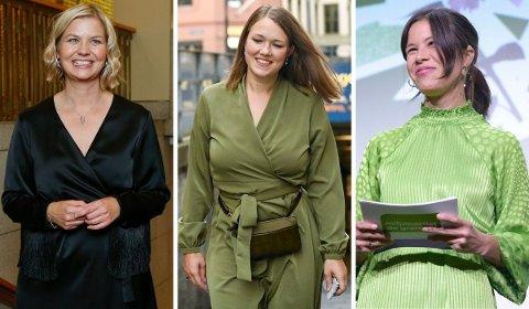 Guri Melby (V), Une Bastholm (MDG) og Lan Marie Berg (MDG) valgte alle å leie kjoler fra Oslo-bedriften Fjong på valgkvelden.