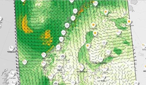 VINDFULLT: Meteorologene venter kraftig fralandsvind i Nord-Troms og Finnmark fra natt til torsdag. Også i fjellet i Sør-Norge ventes det friske vindkast når frontsystemer presser på. (Meteorologisk institutt)