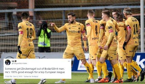 - Noen må få Zinckernagel ut av Bodø/Glimt. Han er 100% god nok for en klubb i toppen av Europa, er det en som skriver på Twitter.