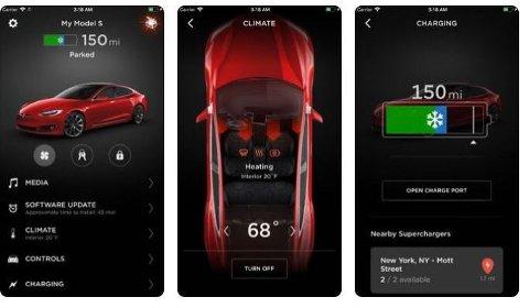 Det finnes flere mobil-apper for Tesla-er. Noen av dem kan sette bilen i bevegelse, men da bør man være edru.