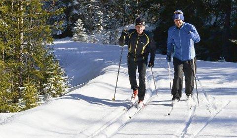 UT PÅ TUR, ALDRI SUR: Odd-Kjell Nilsen (t.v) og Ragnar Rosenlund trener hver dag, året rundt, og de er helfreste felleskibrukere. Felleski gir en enorm skiglede, sier Odd-Kjell Nilsen.