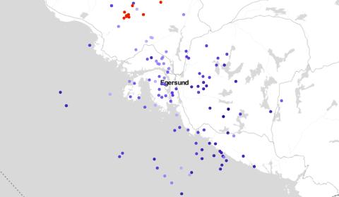 LYN OG TORDEN: Kartet viser lyn i egersundsområdet mellom klokka 20.30 og 21.30 måndag kveld. Talet på lyn i løpet av timen var 149.