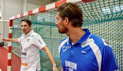 STJERNEDUELLEN: Glenn Solberg (t.v.) og Kristian Kjelling leder hvert sitt lag når St. Hallvard og DHK møtes i Reistad Arena onsdag kveld.