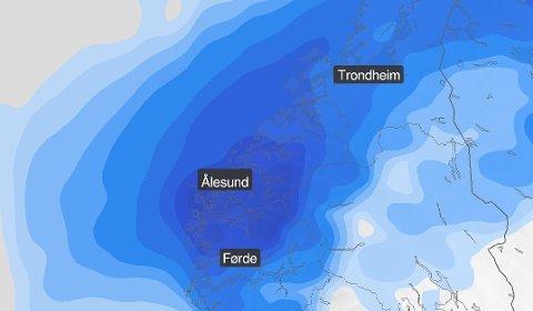 SLIK HAR DET SETT UT: Vêrkarta til Meteorologisk institutt har vist nedbør gjennom store deler av september. Men endeleg er det sol å sjå.