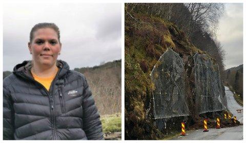 RAUTSETT: Inger Marie Bråstad kjenner seg ikkje trygg når ho må køyre på fylkesveg 609 mellom Heilevang og Løvika i Askvoll. Sidan torsdag har det gått tre skred på denne strekka.