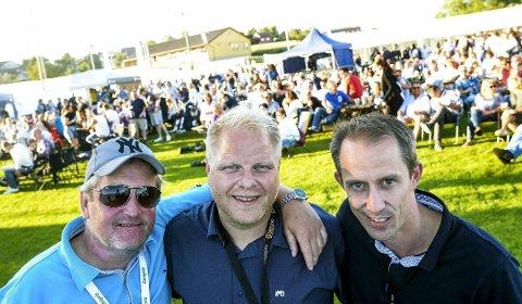 BRUKEN-GUTTA: Det var Frode Kristiansen (t.v), Fredrik Raae og Morten Mjelde som dro i gang Bruken festivalen i 2014. De har allerede solgt 500 billetter til lørdagens utgave.