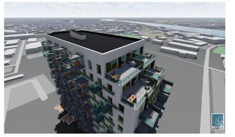 Nytt forslag for B-blokken: Slik ser studentene ved Fagskolen i Østfold for seg at B-blokken kan se ut, etter påbygg med tre etasjer. (Illustrasjon: Fagskolen i Østfold)