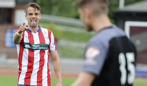 SCORET TO: Øystein Lundblad Næsheim scoret to mål da Kvik Haldens andrelag slo Borgen 3-0 på Sandbakken tirsdag kveld. Arkivoto: Atle Wester Larsen