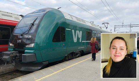 Charlotte Elisabeth Hansen (23) får ingen drahjelp fra samferdselsministeren for å få innført rabatt for lærlinger på Vys tog.
