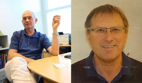 Fastlegene Bjarte Ås Harbo (til venstre) og Svein Henning Haarr deler for tiden på ansvaret som kommuneoverlege i Gjesdal.