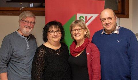 TOPPTRIO: Stortingrepresentant Karin Andersen sammen med de tre toppkandidatene Gunnar Nygård (t.v.), Berit Andersen Skogvang og Arild Hovden.