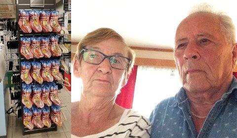 REAGERER: Anne Grethe og Sven-Harald Severinsen er bekymret for at juleutstillinger såpass tidlig på året kan ødelegge julegleden for barna.