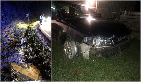 KJØRTE UT OG BLE TATT: Politiet fant bilens skilt og frontfanger etter uhellet, mens bilen var søkk borte. Slik ble den funnet igjen på mannens gårdsplass.