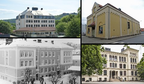 STASELIGE: Fire av signalbyggene i Halden sentrum: Os skole (øverst til venstre), Aladdin kino, Halden gutteskole/Halden bibliotek (nede til venstre) og Rødsberg ungdomsskole. – Alle bygningene bør bevares, mener Sverre Stang.