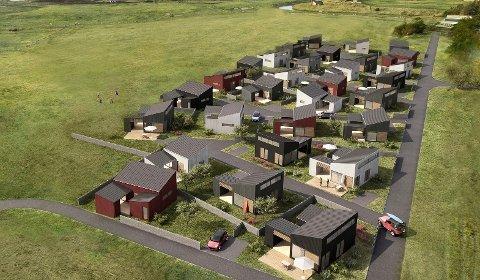 De nye hyttene kommer mellom Bore Strandcamping og Borestranda. Bak ser man Figgjoelva.