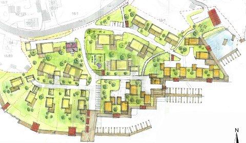 Hele veien: Hovedutvalget for plan, bygg og miljø vil ha en sammenhengende strandpromenade foran hele bebyggelsen på Hellesund.Illustrasjon: Arkitekthuset Kragerø
